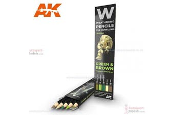 AK Interactive Weathering Pencil Set AK10040 Green and Brown Colours Shading and Effects set.