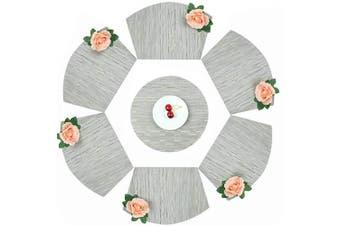 (set of 7, C-silver Grey) - Homcomoda Round Placemats Silver Grey Washable Table Mats Set of 6 Plus 1