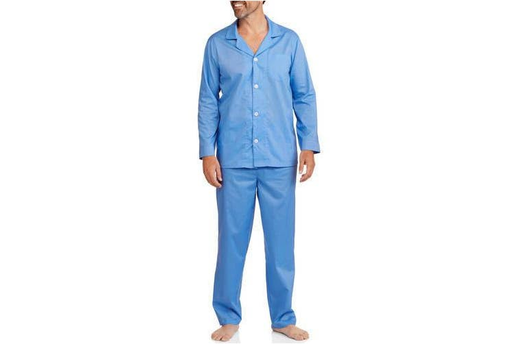 (frenchblue, l) - Fruit of the Loom Men's Long Sleeve, Long Pant Solid Pyjama Set