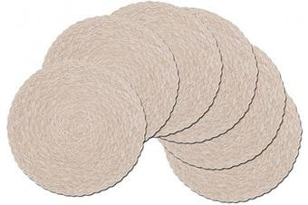 (6, T-Beige) - SHACOS Round Braided Placemats Set of 6 Washable Kitchen Table Placemats 38cm for Home Wedding Party (T-Beige, 6)