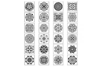 24pcs Mandala Painting Stencils Reusable Airbrush Template for Floor Wall Tile Fabric Wood DIY Painting Art Projects(18cm x 18cm )