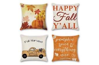 (Maple Leaf/Pumpkin/Truck) - Artscope Set of 4 Thanksgiving Decorative Cushion Covers for Sofa Car, Autumn Theme Cotton Linen Throw Pillow Covers 45 x 45 cm Fall Pillowcases with Invisible Zipper (Maple Leaf/Pumpkin/Truck)