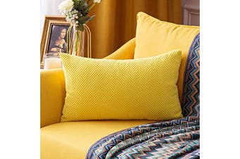 (30cm  x 50cm ,1 Piece, Yellow) - MIULEE Corduroy Granule Throw Pillow Covers Soft Pellets Solid Decorative Square Cushion Case for Sofa Bedroom Car Yellow 30cm x 50cm 1 Piece