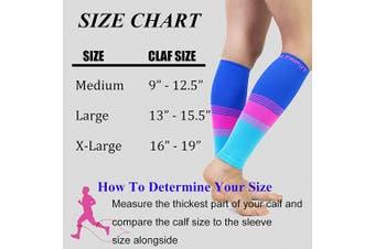 (Large, A6 - Black+colorful) - Compression Calf Sleeves (20-30mmHg) for Men & Women - Leg Compression Socks for Shin Splint,Running,Medical, Travel, Nursing