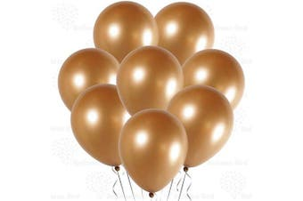 (30cm  Pack of 100, Metallic Chrome Gold) - Metallic Chrome Gold 30cm Shiny Glossy Chrome Thickened Latex Balloons, Pack of 100, Premium Helium Quality for Wedding Bridal Baby Shower Birthday Party Decorations Supplies Ballon Thinken