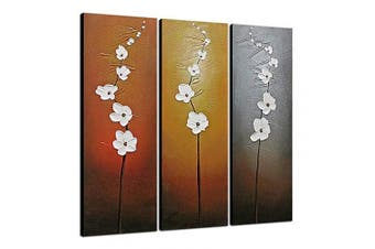 (12x36inchx3pcs (30x90cmx3pcs)) - Wieco Art Extra Large 3 Panels Abstract Floral Oil Paintings on Canvas Wall Art for Home Decorations 100% Hand Painted Decorative Gallery Wrapped Modern Contemporary Flowers Artwork