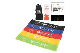 (Pro.V(Rec for Advanced Training)) - INMAKER Resistance Workout Bands with Instruction eBook, Videos, Manual and Carry Bags, Exercise Bands for Legs and Butt, Set of 5