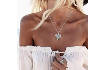 Anglacesmade African Choker Necklace Elephant Necklace Elephant Head Charm Pendant Necklace Beach Jewellery for Women and Girls