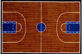 (48cm  x 70cm ) - LA Rug GI-10 1929 Fun Time Collection - Basketball Court Rug - 19 x 29 Inch