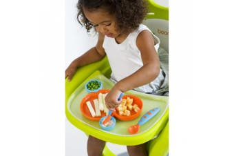 (Orange/Blue) - Boon Groovy and Modware Interlocking Plate and Bowl Set with Utensils - Blue Raspberry/Tangerine