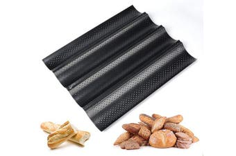 (4PCS Baguette) - ilauke Baguette Baking Tray Perforated French Stick Loaf Baking Moulds Pan for 4 Baguettes