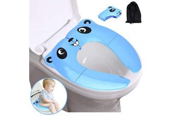 (01, Blue) - Potty Training Seat, Portable Folding Large Non-Slip Silicone Pads Travel Potty Seat for Toddler, Recyclable Toilet Training Seat Cover with Carry Bag-Blue (Blue, 01)