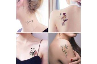 (style 4) - Animal Temporary Tattoos for Women - 8 sheets Mermaid Panda Bird Flamingo Cat Elephant Words Flowers Tattoo Stickers Waterproofing (style 4)