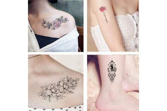 (style 5) - Temporary Tattoos for Women - 12 sheets Adults Lotus Flower Mermaid Animal Art Graphics Owl Words Tattoo Stickers Waterproofing (style 5)