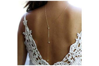 CanB Pearl Back Necklace Bridal Backdrop Necklaces Back Drop Necklace Body Back Chain Back Pendant Jewellery for Women Girls