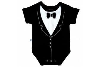 (0-3 months, Black) - Frenchie Mini Couture Fancy Tuxedo Bodysuit (0-3 Months)