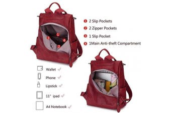 (Wine Red) - Women Backpack Purse,RAVUO Fashion PU Leather Anti-theft Ladies Backpack Convertible Rucksack School Bags Three Ways to Carry