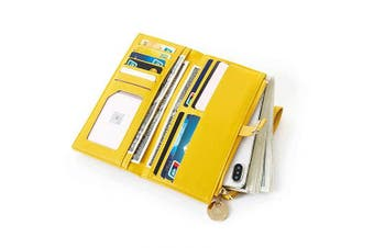 (Yellow) - Flywill Ladies Clutch Wallet Bag,Premium Portable Large Capacity PU Leather Purse Handy Long Wallet with Wrist Strap Multiple Card Slots Banknote Compartment Zipper Pocket for Phones up to 17cm ,Yellow