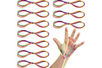 ABOAT 10 Pieces Cats Cradle Rainbow Strings Hand Game Finger String Toy Supplies, 165 cm Length
