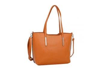 (Tan) - Designer Womens Handbags Faux Leather Tote Ladies Shopping Bag