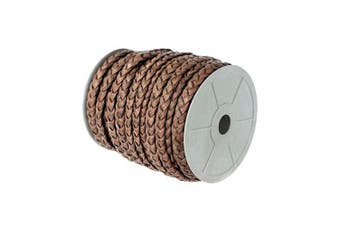 (5mm X 10 Yards, Red Brown) - Craft County Flat Braided Leather Jewellery Craft Cord – Necklaces, Belts, Bracelets, Crafts and Jewellery Making (Red Brown, 5mm X 10 Yards)