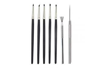COMIART Artist Sculptural Supplies Tools Set,5pcs Size 0 Silicone Colour Shaper Painting Brushes +1pcs Professional Detail Needle +1pcs Feather Wire Texture Metal Brushes