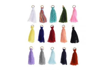 BCP 45PCS Mix Colour Silky Handmade Tiny Soft Tassels with Golden Jump Ring for Earring DIY Jewellery Making Accessory