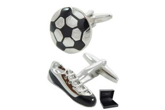 COLLAR AND CUFFS LONDON - Premium Cufflinks with Presentation Gift Box Football and Boot - Solid Brass - Sport Fan Match Game Round Soccer - Silver & Black Colours
