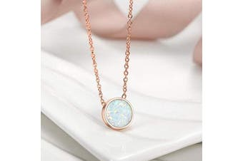 (Rose Gold V) - CIUNOFOR Opal Necklace Gold Plated Round Disc Initial Necklace Engraved Letter Necklace with Adjustable Chain for Women Girls