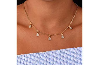 Artmiss Bridal Tear Water Drop Choker Necklace Wedding Rhinestone Dangle Bride Shiny Rhinestone Pendant Necklace for Women Bridesmaid Gifts (Gold)
