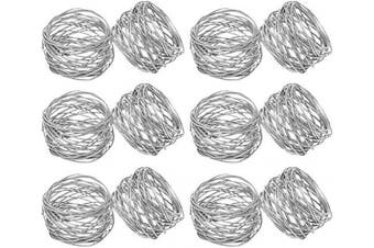 (12, Silver) - Divine glance Silver Round Mesh Napkin Rings for Weddings Dinner Parties or Every Day Use (12)