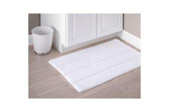 (white) - iDesign Stripe Plush Rug, White