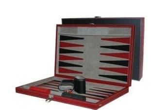 (38cm .) - CHH 3042M 38cm Black and Red Leatherette Backgammon Set