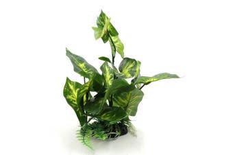 Green Plastic Terrarium Tank Leaves Plant Decorative Ornament w/ Resin Base