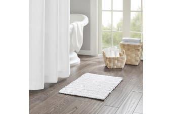 (white, 50cm  x 80cm ) - Home Essence Braide Yarn Dyed Cotton Chenille Chain Stitch Rug
