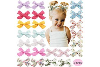 24PCS 8cm Baby Girls Hair Bows Clips Flower Printed Hair Bows Hair Barrettes Pigtail Hair Bows for Girls Toddlers Kids Chidlren in Pairs
