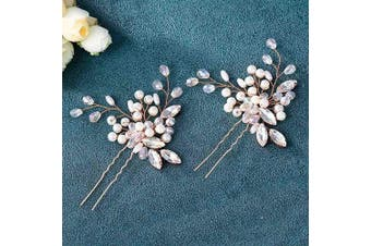 (Rose gold) - Asooll Wedding Hair Pins Clips Set Bride Pearl Head Piece Bridal Crystal Hair Jewellery for Women and Girls Set of 2 (Rose gold)