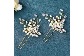 (Gold) - Asooll Wedding Hair Pins Clips Set Bride Pearl Head Piece Bridal Crystal Hair Jewellery for Women and Girls Set of 2 (Gold)