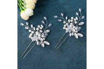 (Silver) - Asooll Wedding Hair Pins Clips Set Bride Pearl Head Piece Bridal Crystal Hair Jewellery for Women and Girls Set of 2 (Silver)