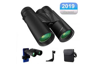 (Roof 10x42) - HD Binoculars, 10x42 Roof Compact Binoculars for Adults Bird Watching, Travel, BAK4 Prism, FMC Lens, Fogproof & Waterproof with Carry Bag and Neck Strap Smartphone Adapter, Tripod Mounting Adapter
