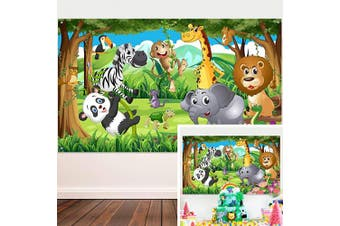 Safari Animals Decorations, Extra Large Fabric Jungle Safari Themed Animals Birthday Party Banner for Jungle Theme Party Supplies, Jafari Animals Backdrop Photography Background