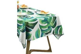 (55W x 70L) - BOXAN Chic Tropical Green Palm Leaves Tablecloth, Exotic Fantasy Hawaiian Tropical Luau Jungle Beach Themed Party Decorations, Spring Summer Wedding Shower Kitchen Ourtdoor Table Linen, 140cm X 180cm