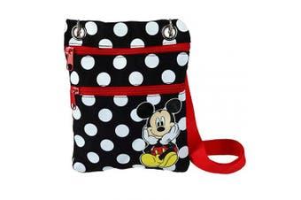 (Black) - Jerry Leigh Disney Mickey Mouse Polka Dot Passport Crossbody Bag