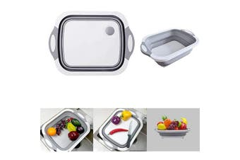 Collapsible Dish Pans Portable Washing Basin Chopping Board Dish Pan Foldable Strainer Wash and Drain Dish Tub Drainer Basket over the Sink Dish Drainer for RV, Camp, Marine