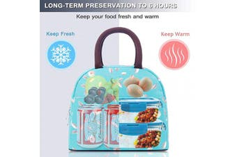 (Light Blue with Flower) - BALORAY Durable Lunch Tote Bag Insulated Lunch Bag for Women Lunch Box Lunch Container