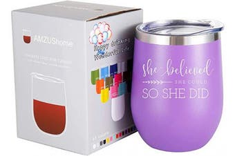 (Purple) - She Believed She Could so She Did Mug.Graduation,Congratulations,Inspirational,Christmas,Birthday Gifts for Women,Girls,Daughter,Best Friend Wine Tumbler(300ml Purple)