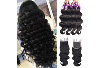 (18/20/22/24+46cm , Bundles with Closure) - Beaudiva Hair 4 Bundles with Closure(18 20 22 24+18 Free Part) Professional Brazilian Body Wave Hair 100% Unprocessed Virgin Human Hair Bundles with Closure Natural Black Human Hair Extensions