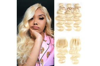 (22 24 26 + 20, 613 Blonde) - 613 Bundles with Closure Blonde 3 Bundles with Closure Brazilian Body Wave Human Hair Bundles with 4x4 Lace Closure with Baby Hair 100% Human Hair Weave with Lace Closure