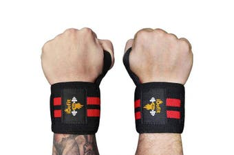 iDofit Wrist Wraps Support (Pair) - 46cm Professional Grade with Thumb Loop - Improve Hand Grip & Prevent Injury - Wrist Straps Braces for Weight Lifting, Powerlifting, Weight & Strength Training