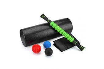 """(6-in-1) - Odoland 6-in-1 18"""" Large Size Foam Roller Kit with Muscle Roller Stick and 3 Massage Balls, High Density for Physical Therapy, Deep Tissue Trigger, Pain Relief, Myofascial Release, Balance Exercise"""